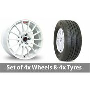 4 X 15 Fox Racing Fx004 White Alloy Wheel Rims And Tyres - 225/60/16