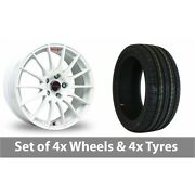 4 X 17 Fox Racing Fx004 White Alloy Wheel Rims And Tyres - 205/45/17