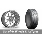 4 X 19 Fox Racing Ms007 Hyper Silver Alloy Wheel Rims And Tyres - 225/45/19