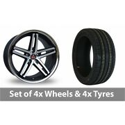 4 X 19 Axe Ex11 Black Polished Alloy Wheel Rims And Tyres - 225/35/19