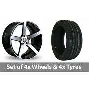 4 X 19 Axe Ex18 Black Polished Alloy Wheel Rims And Tyres - 245/45/19