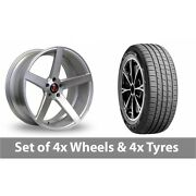 4 X 19 Axe Ex18 Silver Polished Alloy Wheel Rims And Tyres - 255/45/19