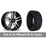 4 X 22 Axe Ex22 Black Polished Alloy Wheel Rims And Tyres - 295/30/22