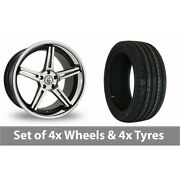 4 X 20 Cades Calisto Black Polished Alloy Wheel Rims And Tyres - 255/40/20