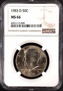 1983 D Kennedy Half Dollar Certified Ms 66 By Ngc