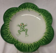 Mariposa Italy 2000 Jilly Walsh Leap Frog Bowl 9 5/8 Green Grass On White