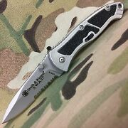New Smith And Wesson Medium Swat Half Serrated Folding Knife Swats