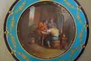 Antique Hand Painted Cabinet Plate By H. Catelin Dutch Scene Men Smoking Pipes