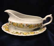 Franciscan Chantilly Gravy Boat And Under Plate 12 Oz Yellow Rose Sprays