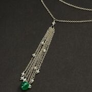 18k Solid White Gold 1.15ct Diamond 1.5ct Emerald 16-18 Adjustable Necklace