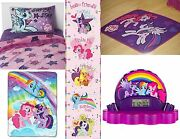 New My Little Pony Twin Sheet Set Throw Area Rug Clock Radio And Growth Chart 7 Pc