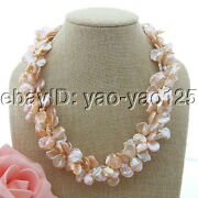 18'' 3 Strands Freshwater Cultured Pink Keshi Pearl Necklace
