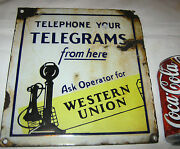Antique Western Union Candlestick Telephone Country Telegraph Porcelain Art Sign