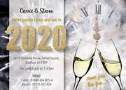 Personalised New Years Eve Party Invites Champagne Glasses Pack Of 10