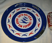 Antique Ww Ii American Porcelain Beer Tray Airplane Propeller Usa Military Art