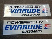 Evinrude Outboard Decal Pair 2 Red / Blue / Black / White 18 1/8 X 4 5/8