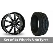 4 X 20 Riva Suv Black Polished Alloy Wheel Rims And Tyres - 275/40/20