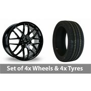 4 X 19 Riva Dtm Black Alloy Wheel Rims And Tyres - 245/40/19