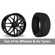 4 X 20 Riva Dtm Black Alloy Wheel Rims And Tyres - 275/40/20