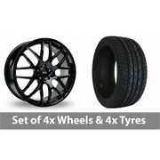 4 X 20 Riva Dtm Black Alloy Wheel Rims And Tyres - 295/40/20