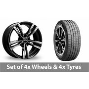 4 X 19 Gmp Italy Reven Black Polished Alloy Wheel Rims And Tyres - 255/55/19