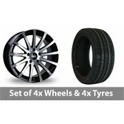 4 X 18 Bola Xtr Black Polished Alloy Wheel Rims And Tyres - 215/35/18