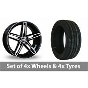 4 X 19 Bola B3 Black Polished Alloy Wheel Rims And Tyres - 225/35/19