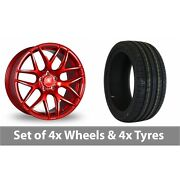 4 X 18 Bola B8r Candy Red Alloy Wheel Rims And Tyres - 205/45/18