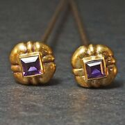 Two Rare Antique Victorian Solid 14k Yellow Gold And Amethyst Estate Hat Pins