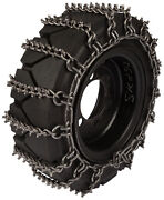 14x17.5 Skid Steer Tire Chains 8mm Studded 2-link Spacing Bobcat Traction