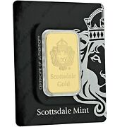 Special Price 1oz .9999 Gold Bar By Scottsdale Mint In Certi-lock Coa A389