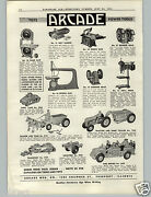 1941 Paper Ad Arcade Cast Iron Toy Tractor Fire Truck Dump Wagon Howitzer Cannon