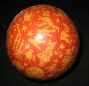 Antique Paper Litho Toy Ball Red Blue Cute Graphics Children Animals