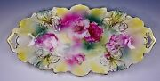 Rs Prussia Silk Finish Gold Iris Mold Floral Decor 26 Roses 12 1/4 Relish Tray