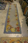 Vintage Primitive American Hand Made Hooked Rug Runner Wool On Burlap 2and0392 X 8and0395