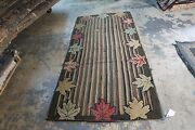 Vintage Primitive American Hand Hooked Rug On Burlap 3and0395 X 7and039 Maple Leaves