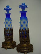 19thc Pair Porcelain William Iv Bronze And Opaline Glass Perfume Bottles