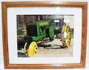 Framed And Matted John Deere Steel Wheels Tractor Picture Photograph