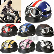 Dot Motorcycle Scooter Open Face Half Helmet Visor Pilot Goggles And Scarf 54-60cm