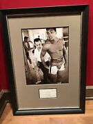 Early 1960and039s Cassius Clay Signed Large Cut With Original Photo Framed 19x27 Psa