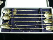 Japanese Sterling Silver Ice Tea Julep Stirrer-set Of 6 With Dangling Charm Tops