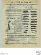 1932 Paper Ad 12 Pg Henry Sears And Son 1865 Pocket Knife Knives Pirate Switch +++
