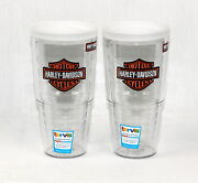 New Tervis Tumbler Harley Davidson 24 Oz Cups W/ Travel Lid - Set Of Two