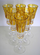 6 Ajka Xenia Flute Amber Gold Cased Cut To Clear Crystal Champagne Flutes
