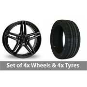 4 X 20 Wolfrace M10 Black Alloy Wheel Rims And Tyres - 255/40/20