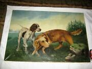 Antique Country Usa Home Wall Art Hunting Duck Bird Decoy Dog Oil Painting Paint
