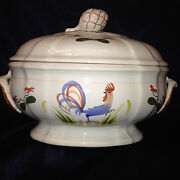 Longchamp France Faience Coq Tureen And Lid Blue Rooster Bird Red Flowers