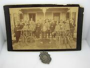 Lot Of Two 1888 Bicycle Club Real Photo W/racing Bikes And Sterling Silver Medal