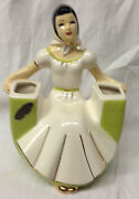 BONINGER H.J. CALIFORNIA POTTERY SEATED BLACK HAIRED WOMAN W SCARF LABELED VASE