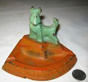 Antique Usa Art Deco Hubley Cast Iron Terrier Dog Ashtray Statue Stand Bowl Tray